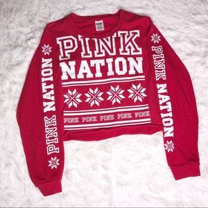 PINK Victoria's Secret Holiday Snowflake Crop Top